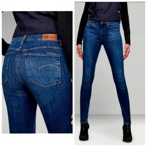 G-STAR RAW 3301 Contour High Rise Skinny Blue Jeans